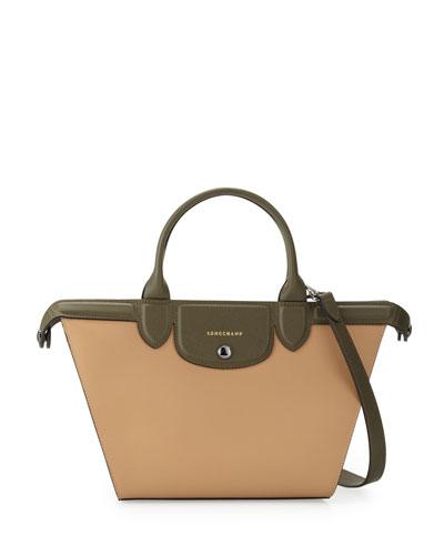Le Pliage Heritage Medium Tricolor Satchel Bag, Sandy Khaki Ecru
