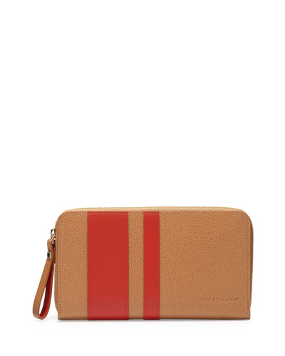 Le Foulonne City Zip-Around Wallet, Natural