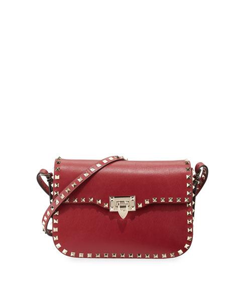 Valentino Rockstud Leather Flap-Top Shoulder Bag, Scarlet