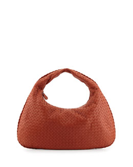 Veneta Intrecciato Large Hobo Bag, Orange