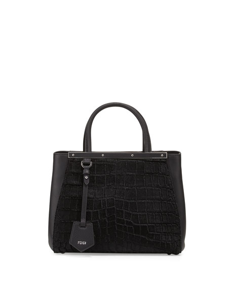 Fendi 2Jours Petite Croc-Embossed Calf Hair Satchel Bag,