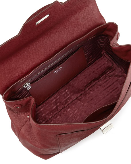 prad bag - Prada Leather Medium Half-Flap Shoulder Bag, Red (Cerise)