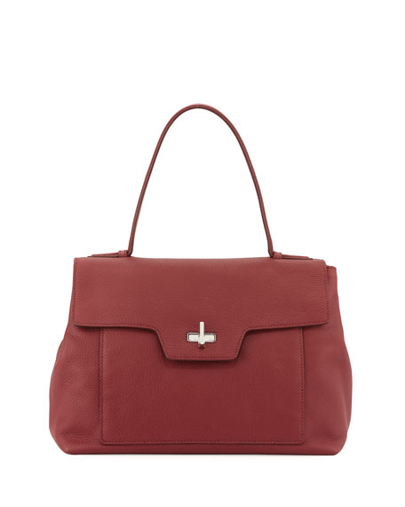 replica prada luggage - Prada Leather Medium Half-Flap Shoulder Bag, Red (Cerise)