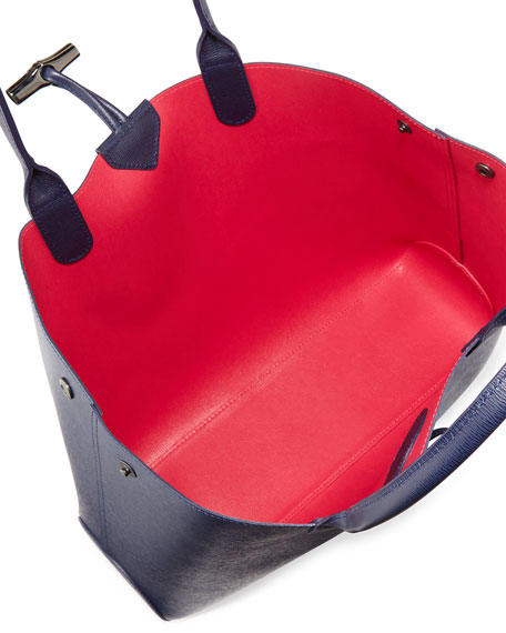 Roseau Reversible Leather Tote Bag Navy/Pink