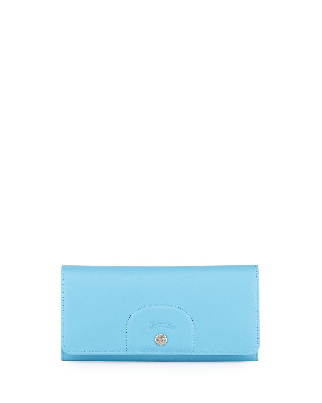 27a0029963 Longchamp Le Pliage Cuir Continental Wallet, Cornflower   Neiman Marcus