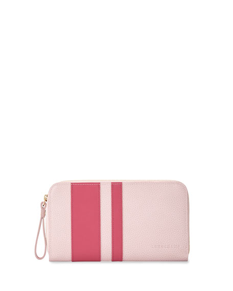 Longchamp Le Foulonne City Zip-Around Striped Wallet, Girl