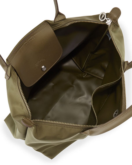 Le Pliage Neo Large Nylon Shoulder Tote Bag, Khaki
