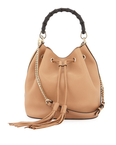 Miss Bamboo Medium Leather Bucket Bag, Camel (Camelia)