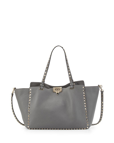 Rockstud Grained Leather Medium Tote Bag, Pebble Light Gray