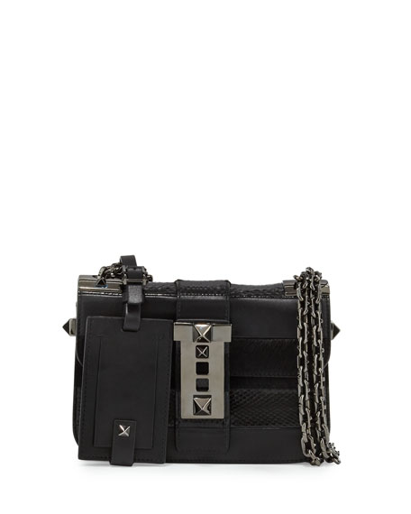 Valentino B-Rockstud Leather Shoulder Bag, Black