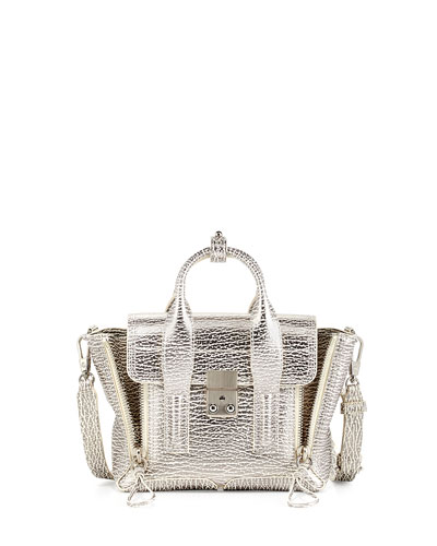 Pashli Mini Shark-Embossed Satchel Bag, Natural/Silver