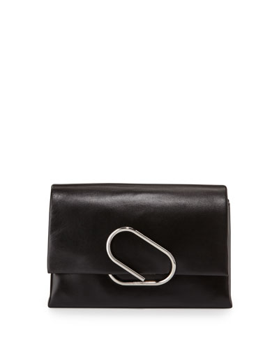 Alix Soft Flap Clutch Bag, Black