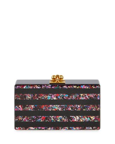 Jean Confetti-Striped Box Clutch Bag, Obsidian/Rainbow
