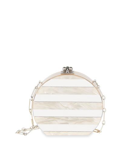 Oscar Striped Clutch Bag, Nude/Clear Mirror
