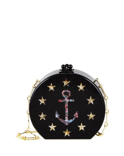 Oscar Admiral Clutch Bag, Obsidian/Sand