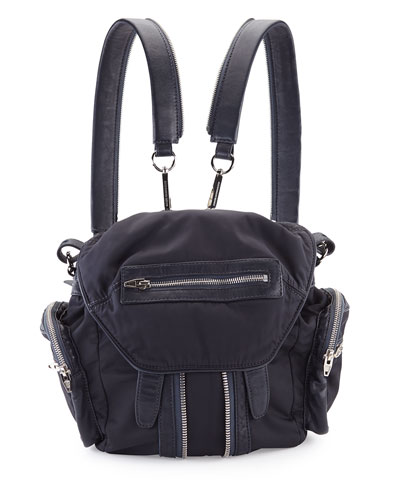 Marti Mini Nylon/Leather Backpack, Neptune
