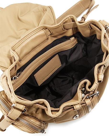 Mini Marti Nylon Backpack, Khaki/Nickel