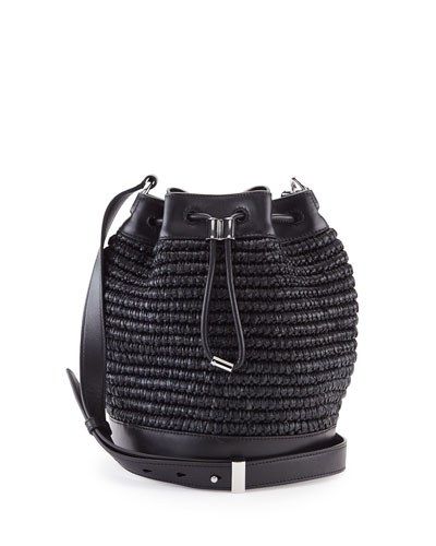 Woven Raffia Bucket Bag, Black/Iridescent