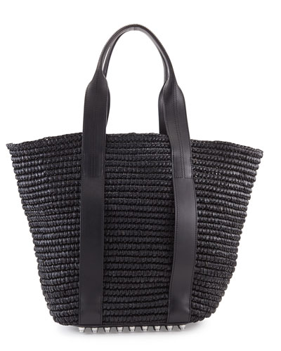 Raffia Leather-Trim Tote Bag, Panier Black/Iridescent