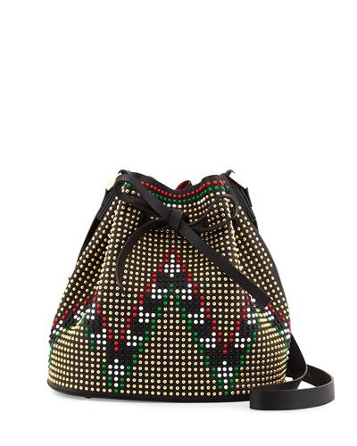 Daliah Geometry Studded Bucket Bag, Black