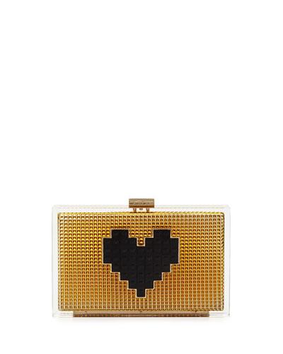 Grace Lolita Heart Clutch Bag, Gold