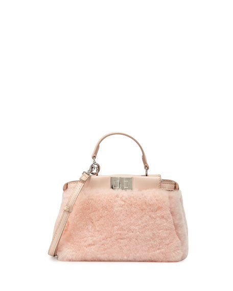 Fendi Peekaboo Micro Shearling Fur Satchel Bag, Light