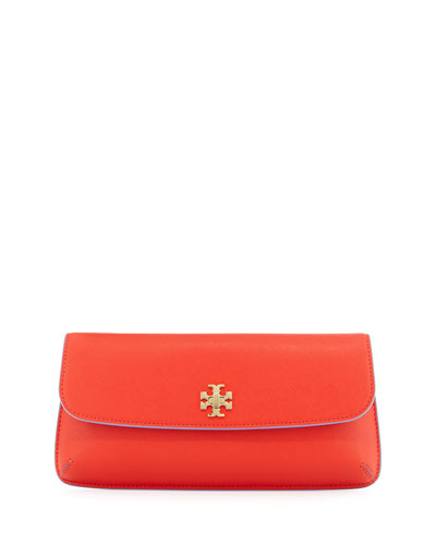 Diana Saffiano Leather Clutch Bag, Poppy Red
