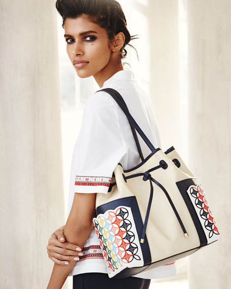 724f215c30f2 ... czech tory burch block t embroidered bucket bag natural neiman marcus  2221c 5caee ...