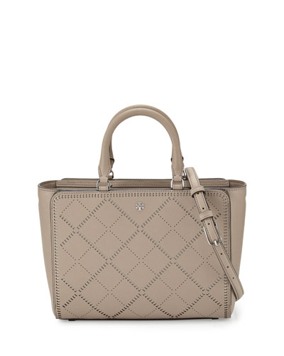 Robinson Small Crosshatch Tote Bag, French Gray/Ivory