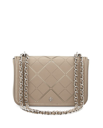 Robinson Crosshatch Saffiano Leather Shoulder Bag, French Gray/Ivory