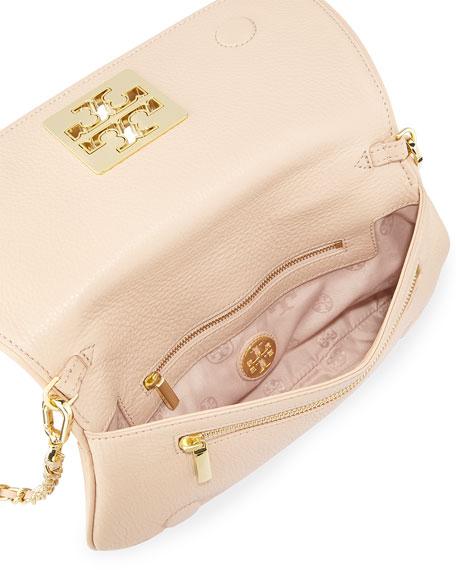 Britten Leather Flap Clutch Bag, Light Oak