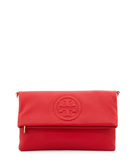 Tory BurchBombe Fold-Over Clutch Bag, Brilliant Red