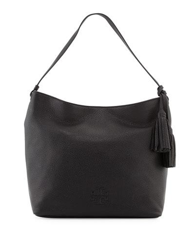 Thea Leather Hobo Bag, Black