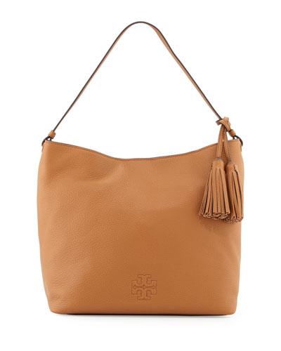 Thea Leather Hobo Bag, Bark
