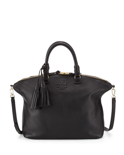 Thea Medium Slouchy Leather Satchel Bag, Black