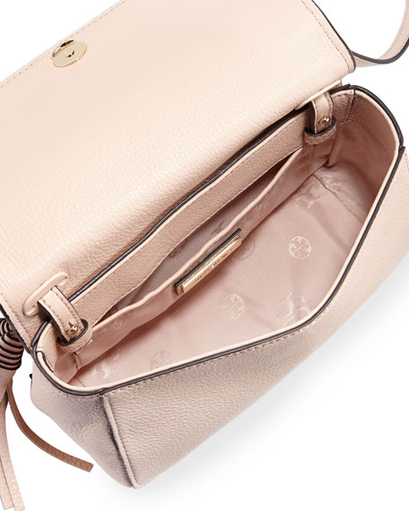 Thea Mini Leather Crossbody Bag, Pale Apricot