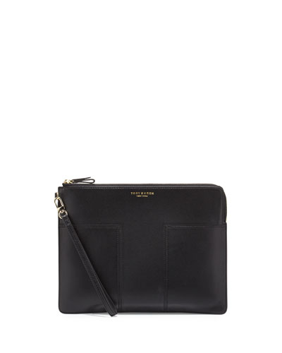 Block-T Large Leather Pouch Bag, Black