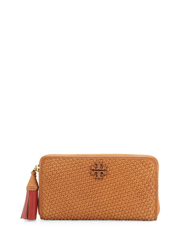 Thea Woven Leather Continental Wallet, Peanut