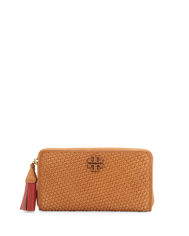 2da837016e51 Tory Burch Thea Woven Leather Continental Wallet