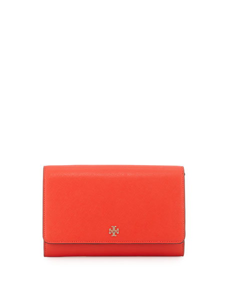 Tory Burch Robinson Saffiano Wallet-On-Chain, Poppy Red