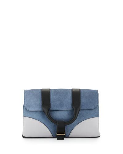 Hanne Suede & Leather Clutch Bag, Dark Plexi