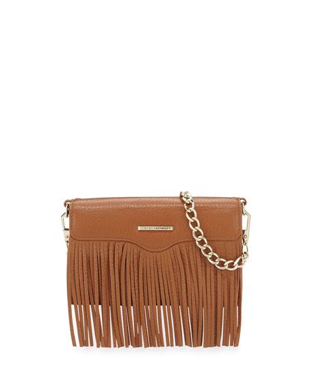 Rebecca Minkoff Universal Fringe Leather Crossbody Bag, Almond