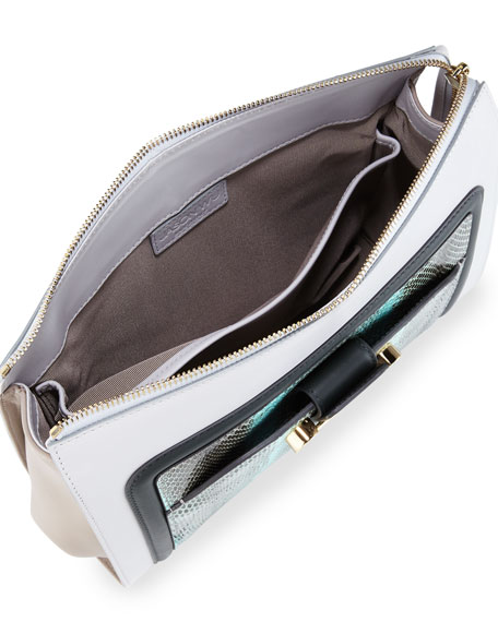 Daphne Watersnake & Leather Clutch Bag, Glass