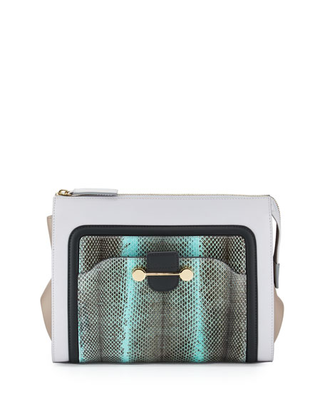Jason Wu Daphne Watersnake & Leather Clutch Bag,