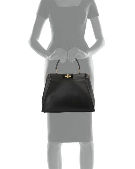 Peekaboo Medium Satchel Bag, Black