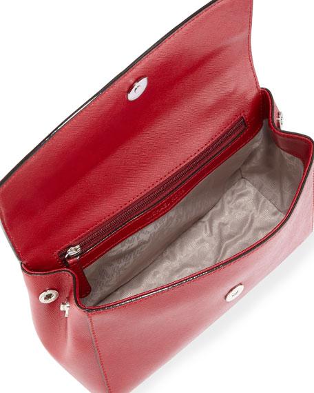 Ava Small Leather Satchel Bag, Cherry