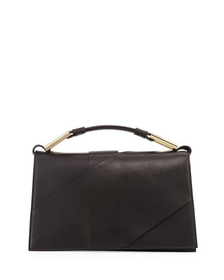 Jason Wu Charlotte Origami Leather Evening Clutch Bag, Black