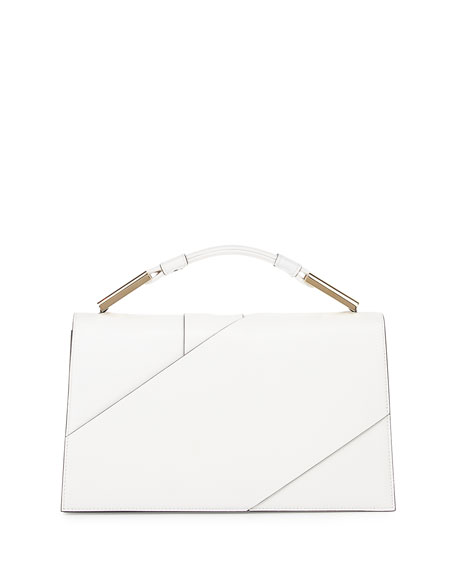 Charlotte Origami Leather Evening Clutch Bag, White