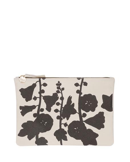 Supreme Floral-Print Flat Clutch Bag, Cream/Black