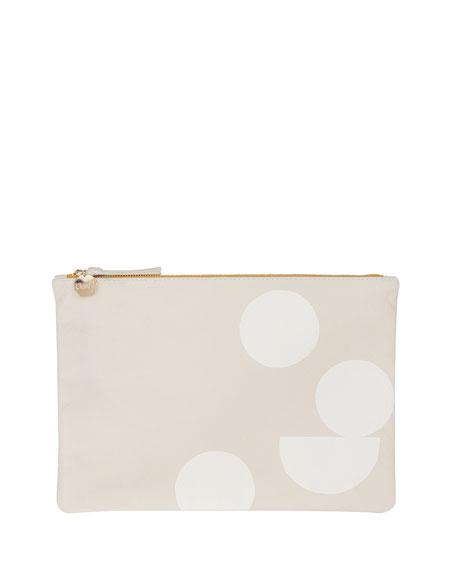 Supreme Geo-Print Flat Clutch Bag, Cream/white